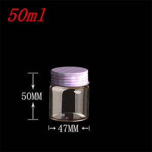 Wholesale- 10 pcs 47x50 mm Small Glass Bottles With Pink Metal Screw Cap DIY 50ml Empty Storage Bottles Glass Containers Jars