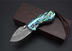 Новый Shell ручка небольшой карманный складной нож Дамаск лезвие открытый тактический кемпинг охота выживания нож утилита EDC подарочные инструменты коллекция