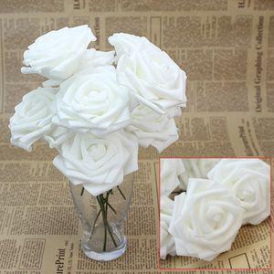 10pcs White Foam Artificiale Rose Fiori Floreale Handmade Wedding Bouquet da sposa Decor Home Decoration Party Decoration