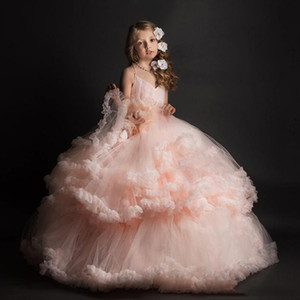 Niñas Wedding Party Dresses Pink Ball Gown Pink Lovely Flower Girl Dress 2017 Long Tulles Baby Girl Toddler desfile Vestidos para niños Ropa formal