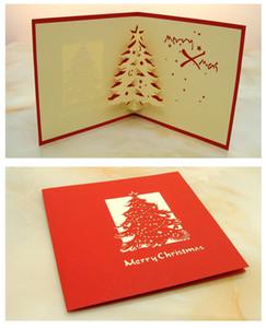 Eco Friendly 10pcs / Lot Laser Cut Wedding Party Invitations 3D cubique Arbre de Noël Carte de voeux Cartes de Noël