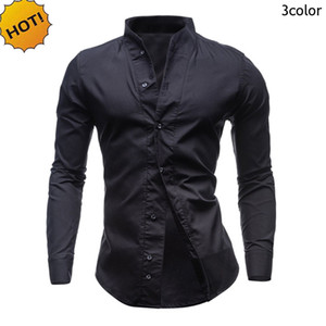 HOT 2017 Spring Autumn Casual Shirt Men Baggy Loose Evening Dress Solid Candy Color Camisa Masculina Homme Long Sleeve Shirts