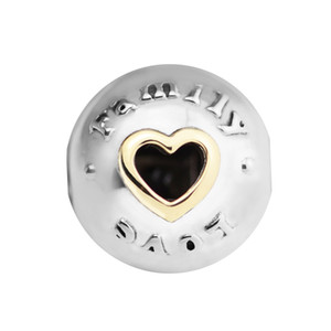 beads for woman Family & Love Clip with gold plated Beads Fits Pandora Bracelet sterling silver jewelry making charms