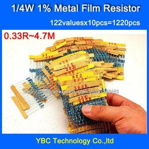 Atacado-1 / 4W 0.25W 122valuesX10pcs = 1220pcs Metal Film 1% Resistor Kit Resistor Pack para DIY Frete Grátis