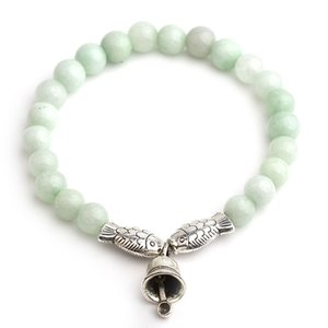 Natural Stone Charms Beads Bracelet For Women Antique Silver Fish Bell Charm Imitation Jade Bracelets & Bangles Love Jewelry 6