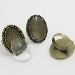 Sweet Bell Min Order 8 sets Aleación de Bronce Antiguo Ajustable 24 * 31mm (Ajuste 18 * 25mm Dia) Ajustes de Cabochon + Cabochon Glass 0671