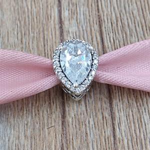 Authentische 925 Sterling Silber Perlen Radiant Teardrop Charm Charms passt europäischen Pandora-Stil Schmuck Armbänder Halskette 796245cz