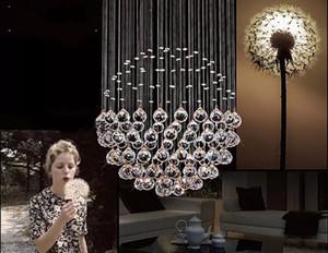 New Modern LED Ball K9 Lampadari di cristallo Lampade di design alla moda Lampadine di lusso Lampadario a sospensione Illuminazione Hotel LLFA