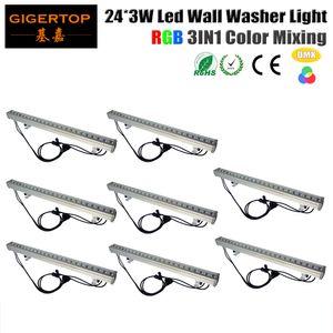 TIPTOP Stage Light 8XLOT étanche haute puissance DMX LED laveuse lumière 24pcs 3Watt City Color DMX 3CH / 7CH 100cm long 100V-240V Led Bar