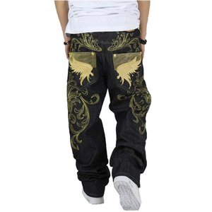Wholesale-Men's fashion hiphop jeans loose plus size embroidery wings denim pants male large size hip hop long trousers Free shipping