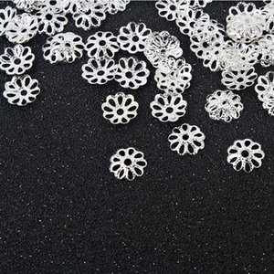 Free shipping! 2 colors Silver gold Plated Flower Caps Spacer For Beads jewelry findings
