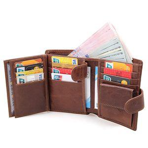 Mens echte Leder-Mappe Bifold Männer Anti-Diebstahl-Bürsten Anti-RFID-Männer Multifunktions-Rind Purse Kredit / ID-Kartenhalter dünne Geldbörse