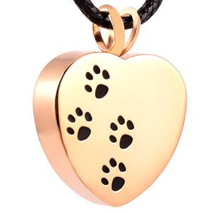 IJD8004 Collar colgante de cremación de acero inoxidable Corazón Pata Estampado de mascotas Cenizas Collar de urna de recuerdo