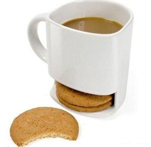 Keramik Milch Cups mit Biscuit-Halter Dunk-Plätzchen Kaffeetassen Speicher für Dessert Weihnachtsgeschenken Keramik-Plätzchen-Becher KKA3109
