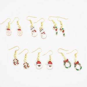 6 Stil Yüksek Kalite 20 pairs Altın Noel Dangle Küpe Noel Baba Kar Tanesi Hediye Küpe DIY Takı Hediyeler Kızlar için