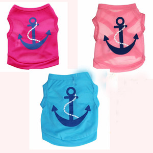 Free Shipping Dog Apparel Fashion Cute Dog Summer Vest Pet Sweater Anchor Puppy Shirts Soft Coat Jacket Summer Dog Clothes Blue Pink