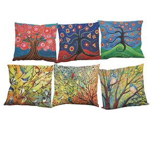 Oil Painting Birds in the Trees Linen Cushion Cover Home Office Sofa Square Pillow Case Decorative Cushion Covers Pillowcases Without Insert