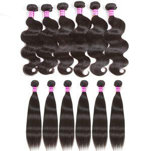 Top vente 10a Brésilienne Vierge Cheveux Weave Bundles Humide et Ondulés Vague de Corps Cheveux Weaves Droite Péruvienne Extensions de Cheveux Humains Mélanger Longueur