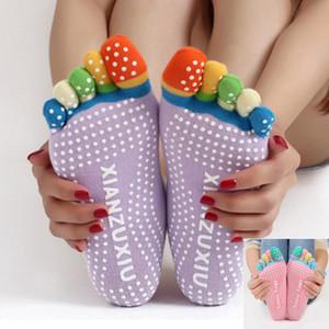 Birthday Present Women Yoga Socks Non-slip Massage Rubber Fitness Warm Socks Gym Sport Exercise Barefoot Feel Mid Stocking Socks HH7-79