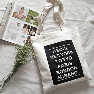 All'ingrosso-donne borse a tracolla nuova moda stampa capitale inglese casual tote letter Letteratura e arte colpito colore grande borsa di tela, LB1700