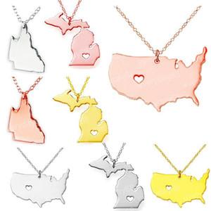 Commonwealth of Pennsylvania North Carolina State Georgia Karte Halskette Charm Anhänger Halsketten mit einem Herz Anweisung Halskette