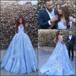 Azul hielo Árabe Dubai Fuera del hombro Vestidos de noche 2017 Dijo Mhamad A Line Vestidos de fiesta de baile de encaje vintage Vestidos para ocasiones especiales
