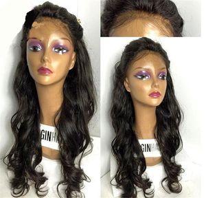 8A Tutkalsız Dantel Ön İnsan Saç Peruk İçin Siyah Kadın Islak Ve Dalgalı Brezilyalı Tam Dantel Peruk ile Bebek Saç Dalgalı Dantel Açık Peruk