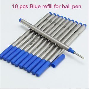 10pcs Encre bleue de recharge de qualité supérieure de qualité supérieure pour stylo à boule à rouleaux de montage
