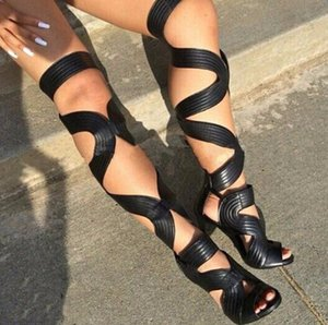 Donna Sexy con cinturino allacciato Stivali alti sottili Sandali da gladiatore estivi Stivali da donna Tacchi alti Stivali estivi ritagliati Sapatos Mujer
