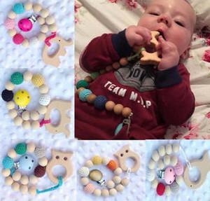 10 colori perline all'uncinetto regalo nascita nascita ciuccio clip supporto fittizio naturale perline in legno uncinetto coperto con elefante in legno giocattoli A01