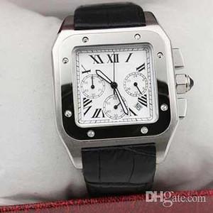 Nueva lujo del cuarzo del cuero Chrono 100 XL Negro Marca los relojes baratos los hombres del deporte del reloj de GINEBRA zafiro grande de calidad manera del dial