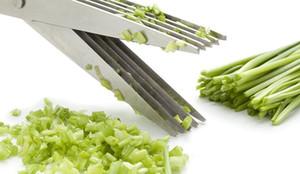 Multifunktionale Edelstahl Küchenmesser 5 Schichten Schere Shredded Scallion Cut Kräuter Gewürze Schere Kochen Werkzeuge