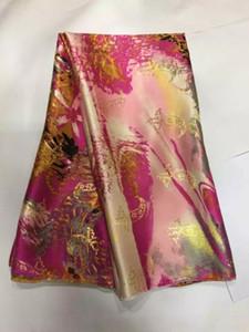 5 yarde / pc Bella tessuto colorato di pizzo di seta con ricami di seta oro africano merletto del velluto per il vestito JS4-1