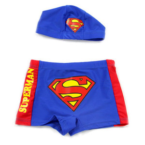 Superman Children Cartoon Boys Swimming Trunks With Caps For Baby Kids Boys Pattern Print Swimwear Cute Beachwear 2016 CS05-CGR1