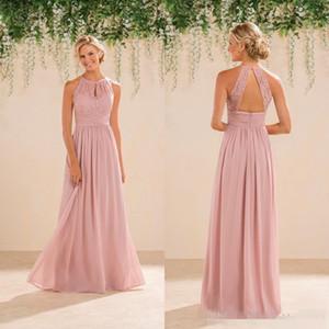 Nuovo gelsomino Bridal Blush Rosa Damigella Damigella Damigella d'onore Country Style Halter Neck Lace Chiffon a figura intera Abiti da partile professionale formale