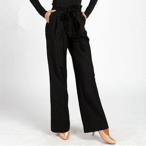 New Women Ballroom Dance Dress Moderne Valse Compétition Standard Noir Stripe Pants Taille S-XL G002