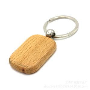 DIY Em Branco De Madeira Titular do Anel Chave de Cadeia, Personalizado EDC Madeira Keychains Keyring Melhor Presente (4 Forma)