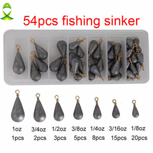 Wholesale- JSM 54pcs Lead Fishing Sinker With Ring Carp Fishing Water Drop Shaped Weights Bass Casting Sinkers Set With Box