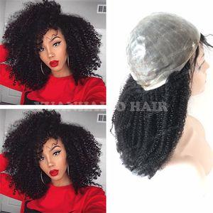 8A Hohe Qualität 1B Jungfrau Indisches Haar Afro Verworrene Curl Voller Dünne Haut Perücken Schwarze Frauen