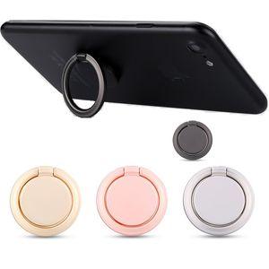 forma redonda do suporte universal do suporte do telefone do anel de dedo, 360 ° 180 °, fita adesiva forte do anel de liga de zinco, preensão do telefone celular na montagem magnética do carro