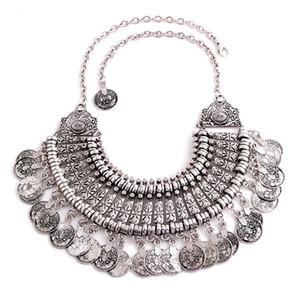 Exagerado retro antiguo collar de plata declaración Monedas de metal clásico borla cuello accesorios gargantilla collar collares joyería
