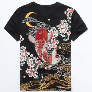 도매 - 일본 조수 브랜드 의류 2016 남자 패션 잉어 문신 인쇄 t- 셔츠 100 % 코 튼 반소매 여름 T 셔츠 남성 3XL 티셔츠
