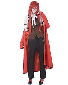 Malidaike Anime 검은 집사 Grell Sutcliff 코스프레 의상 Classice Red Grell Sutcliff 재즈 헝겊 컴플리트 할로윈 정장 Good Dress Up