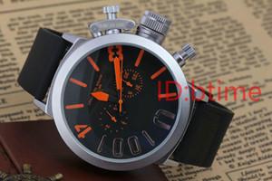 Мужские спортивные 50мм Big Boat Silver Black Резинотехнические Классические круглые автоматические механические часы Наручные часы самостоятельной Ветер U Часы