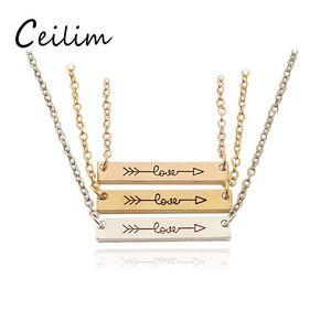 """3 colori moda collana gioielli """"amore"""" lettera minimalista oro rosa oro colore barra collana semplicemente orizzontale amore freccia per le donne ogni giorno"""