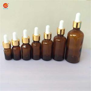 Wholesale- 5ml 10ml 15ml 20ml 30ml 50ml 100ml Glass Dropper Bottles with Pipette Empty Amber Esssentail Oil Bottles Liquid Vials Jars 24pcs