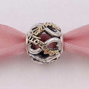 925 contas de prata, ouro 14K céu aberto Infinito Silver Charm único estilo europeu jóia de Pandora pulseiras Colar 791525CZ