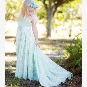 Vintage Bebek Mavi Boho Çiçek Kız Elbise Plaj Düğün için 2017 U Backless Yüksek Kalite Cap Sleeve Dantel Kızlar Düğün Törenlerinde