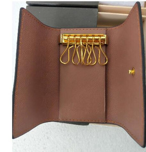 KEY POUCH Damier lienzo tiene alta calidad famoso diseñador clásico de las mujeres 6 titular de la llave de monedero de cuero hombres titulares de tarjeta monedero de la cartera