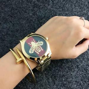 banda de acero chica GU24 reloj del cuarzo de la marca de estilo de abejas abeja de la manera de las mujeres